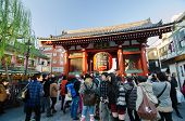 Asakusa, Japan- Nov 21, 2013: Sensoji Temple. The Temple Is Approached Via The Nakamise, Shopping St