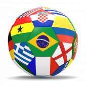 3D render of football with international flags surrounding the Brazilian flag with drop shadow.