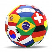 image of japanese flag  - 3D render of football with international flags surrounding the Brazilian flag with drop shadow - JPG
