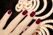 Luxury short manicure Burgundy
