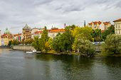 View On Embankment In Prague