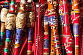 BOSNIA AND HERZEGOVINA, MOSTAR - SEPTEMBER 17, 2008: Traditional handmade  reed-pipe flutes in a gif