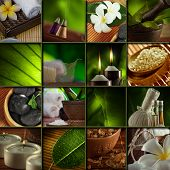 stock photo of frangipani  - Spa theme  photo collage composed of different images bath salt frangipani flowers skincare service - JPG