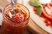 Pizza sauce in a jar