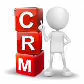 3D Illustration Of Person With Word Crm Cubes