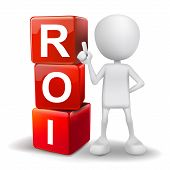 3D Illustration Of Person With Word Roi Cubes