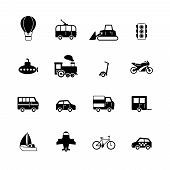 stock photo of passenger train  - Transportation pictograms collection of passenger train tram taxi isolated vector illustration - JPG
