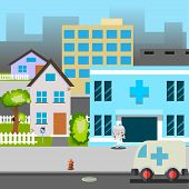 stock photo of ambulance car  - Cartoon Street Hospital Ambulance car Doctor Vector Illustration - JPG