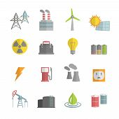 image of solar battery  - Energy power flat icons set of solar panels wind turbine and nuclear plant isolated vector illustration - JPG