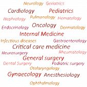 Tag cloud, speech banner of medical branches.