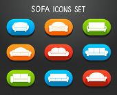 Sofas and Couches Furniture Icons Set