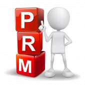 3D Illustration Of Person With Word Prm Cubes