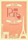 Love Paris vintage retro poster