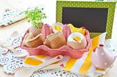 image of salt shaker  - Boiled eggs with toasted bread and cute salt and pepper shakers - JPG