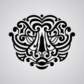 foto of maori  - vector tiger face tattoo sketch Polynesian tattoo style - JPG