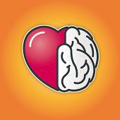 Connection of heart and brain. Vector icon of heart and brain symbiosis.