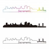 Sacramento Skyline Linear Style With Rainbow