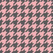 Houndstooth vector pastel pink and grey tile pattern or background. Traditional Scottish plaid