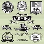 foto of combine  - set of labels on bread and combine harvester - JPG