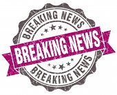 Breaking News Violet Grunge Retro Vintage Isolated Seal