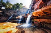 stock photo of mountain-high  - Waterfall and mountain landscape - JPG