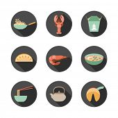 set of round flat icons with asian food