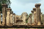 foto of polonnaruwa  - Stone lion and columns of palace Nissanka Mala in Polonnaruwa Sri Lanka - JPG