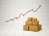 rising amount of delivered goods, positive chart