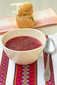 foto of pampushka  - Traditional Ukrainian beetroot soup  - JPG