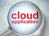 Cloud technology concept: Cloud Application with optical glass