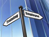 Education concept: sign Employee Training on Building background