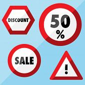 Sale Flat Labels - Road Signs