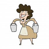picture of milkmaid  - cartoon milkmaid carrying buckets - JPG