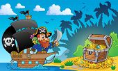Pirate theme with treasure chest 2 - eps10 vector illustration.