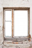 Empty wooden window frame wall