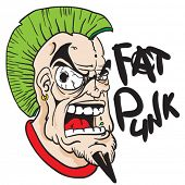 picture of mohawk  - fat punk face with green mohawk cartoon - JPG