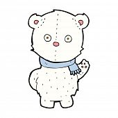 cartoon waving polar bear cub