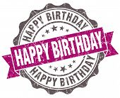 Happy Birthday Violet Grunge Retro Vintage Isolated Seal