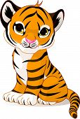image of tiger cub  - A cute character of sitting tiger cub - JPG