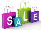 Sale On Shopping Bags Shows Bargains And Promotions