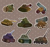 Cartoon Tank/cannon Weapon Stickers