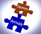 Departures Arrivals Puzzle Means Vacation Or Trip