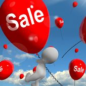 Sale Balloons Shows Offers In Selling And Discounts