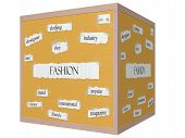 Fashion 3D Cube Corkboard Word Concept