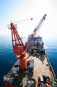 image of barge  - Large crane vessel installing the platform in offshore - JPG