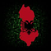 stock photo of albania  - Albania map flag on hex code illustration - JPG