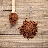 Pile Of Cocoa Powder On Wooden Background