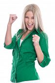 Successful businesswoman  - jumping for joy with fists  isolated on white background