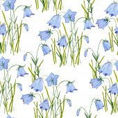 Seamless watercolor painting pattern. Bluebell flowers watercolor hand painted floral background.