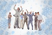 Very enthusiast business people jumping and raising their arms against snowflake frame